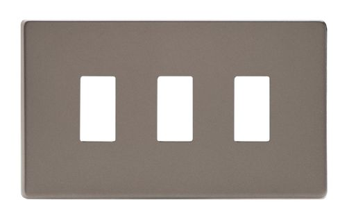 Varilight XDRPGY3S Screwless Pewter 3 Gang PowerGrid Plate (Twin Plate)